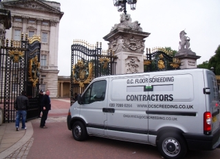 Arriving on site at Buckingham Palace, Central London